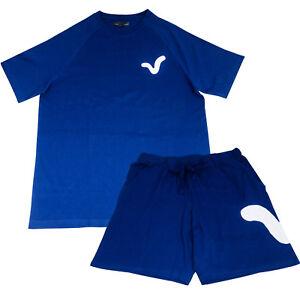 Mens 2pce Blue Top & Shorts Pyjama Set Fathers Day Christmas Stocking Filler