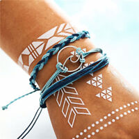 3Pcs Womems Handmade Wave Woven Braided Rope Bracelet Set Wristband Jewelry
