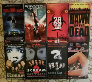 Lot of 8 HORROR VHS Movies SCREAM 1,2,3  Dawn Of The Dead Craven ++ FREE SHIP!