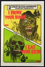 I DRINK YOUR BLOOD / I EAT YOUR SKIN DAYGLO HORROR DOUBLE-BILL 1971 1-SHEET