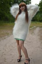 mohair69 White handmade Sweater Turtleneck Natural Goat fuzzy Unisex Size M-L