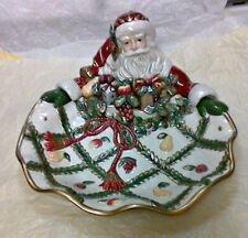 Fitz & Floyd Large Server Bowl Santa Christmas Centerpiece Classics Renaissance