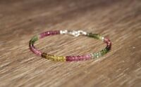 NATURAL WATERMELON TOURMALINE FACETED GEMSTONE BEADED BRACELET 925 SILVER CLASP