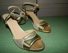 NEW Amalfi GOLD Metallic Leather Strappy Dressy Heels LEIA 8 M