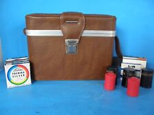 VINTAGE 3 COMPARTMENTS LEATHER HARD CAMERA CASE WITH SHOULDER STRAPS + BONUS