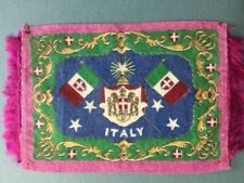 """Early 1900's Italy Felt Rug Or Blanket with two Flags And Crest - 5"""" x 8"""""""