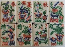 8 Flower Tiles, Vtg, Bone & Bamboo Mahjong Mah Jongg, 2 Run Set, Orphans