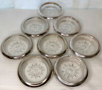 SET 8 LEONARD SILVER PLATE COASTERS with GLASS INSERT STARBURST PATTERN, ITALY.