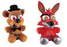 "New Set Of 2 Five Nights At Freddy's NIGHTMARE FOXY and FAZBEAR 8"" Plush"
