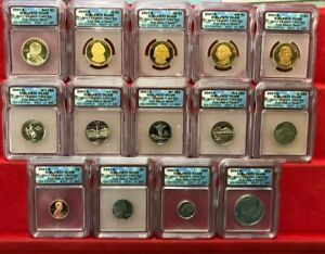 2007-S 14 piece proof set (FIRST DAY ISSUE) coins, ICG Certified PR70DCAM