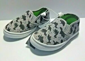 Swiggles Toddler Boy's Casual Slip-On Shoes - Gray with Dinosaur Print - Size: 8
