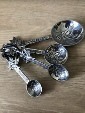 More details for crosby & taylor vintage pewter measuring spoons on a leather tie