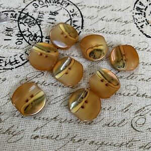 8 Vintage Golden Yellow Designer Plastic 2 Hole Sewing Craft Buttons
