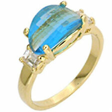 Yellow Gold Filled Topaz Cocktail Fashion Rings