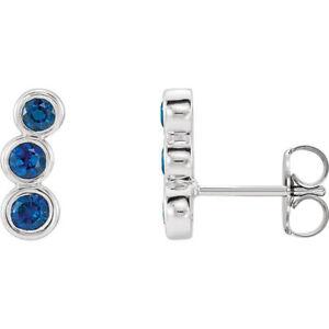 Chatham Created Blue Sapphire Three-Stone Ear Climbers In Platinum