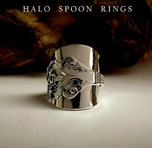 CHUNKY NORWEGIAN SOLID SILVER SPOON RING VIKING ROSE 1960 PERFECT CHRISTMAS GIFT