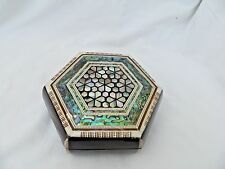 "Egyptian Inlaid Mother of Pearl Paua Jewelry Box 6 X 2"" #159"