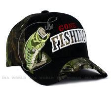 Fishing Fish hat Gone Fishing Outdoor Sports Baseball cap- Black/Hunter Camo