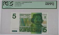 28.3.1973 Netherlands 5 Gulden Note SCWPM# 95a PCGS 68 PPQ Superb Gem New