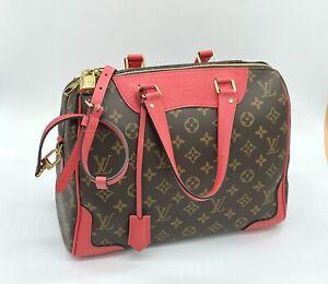 Authentic Louis Vuitton Red Poppy Leather Brown Retiro NM Monogram 2 Way Bag