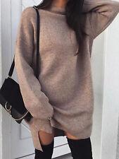 Plus Size Womens Chunky Dress Roll Neck Knitted Jumper Dress Ladies Mini Dress
