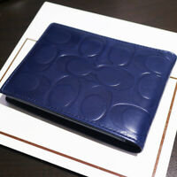 NWT COACH Men's Passcase ID Embossed Signature Leather BLue Wallet Bifold NEW