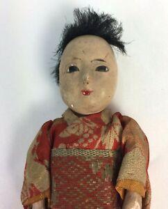 "Antique Japanese Itchimatsu Doll Tiny 6"" All Original Kimono with Squeaker"