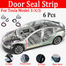 6X For Tesla Model 3 Door Seal Kit Soundproof Rubber Strip Wind Noise Reduction