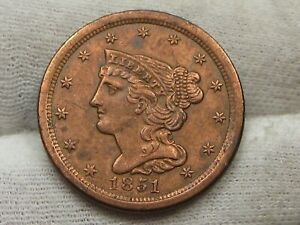 XF+/AU 1851 US Half Cent Red/Brown.  #39