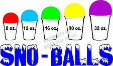 """Sno-Balls Decal  14"""" Sizes Snow Cones New Orleans Style Concession Trailer Cart"""