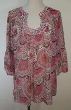 Maria Gabrielle Womens Plus Size 2X Paisley Sheer Red Coral Blouse NWT