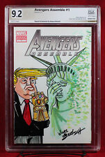TRUMP INFINITY GAUNTLET PGX (not CGC) 9.2 NM- Original Sketch by WAYNE BERTSCH!!