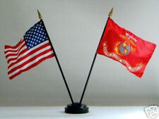 *US MARINES BATTLE COLORS USA 4 x 6 DESK FLAG W BASE BIRTHDAY GRADUATION GIFT!