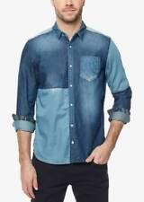 $95 BUFFALO DAVID BITTON Men's FIT BLUE COTTON LONG-SLEEVE BUTTON DRESS SHIRT XL