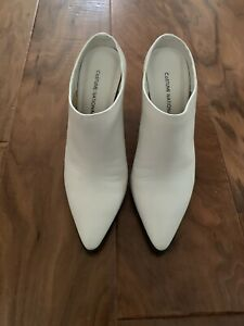 CoSTUME NATIONAL Calfskin Point-Toe Wedge Mule, White, size 36,5.