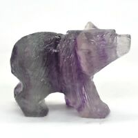 "2"" Bear Figurine Stone Carving Fluorspar Crystal Healing Animal Decor Gift 1B"