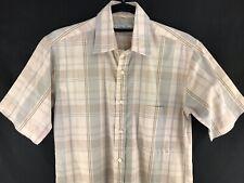 Christian Dior Shirt Men's Small Casual Dress Short Sleeve Collar Brown Plaid