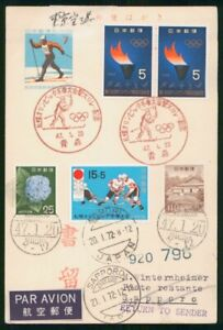 Mayfairstamps Japan Olympic Flame Block Skiing Cover wwm_86435
