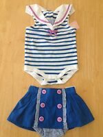 NWT Gymboree Sailor Bodysuit Skirt Set 6 12 18M Hippos and Bows Baby Girl