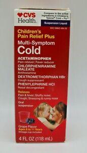 CVS Children's Multi-Symptom pain fever runny nose cough Grape 4oz Exp 02/2022