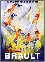 Brault Limonade 1938 Mermaids Dancing French Vintage Poster Print Retro Art