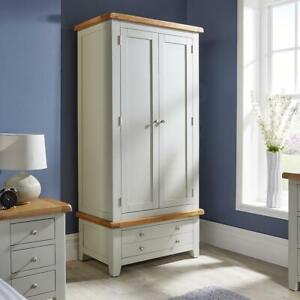 Modern Grey Solid Wood 2 Door Double Wardrobe With 2 Shelves Bedroom Storage