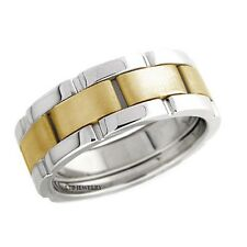 TWO TONE GOLD WEDDING RINGS,14K GOLD 8MM MENS HANDMADE WEDDING BANDS