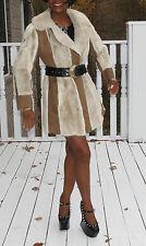 Couture  I Magnin Unique beige white Mink Fur Coat Jacket stroller bolero S 0-8