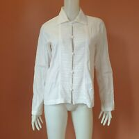 PLANTATION ISSEY MIYAKE FROG BUTTON-DOWN LONG SLEEVED  TOP WHITE SIZE M