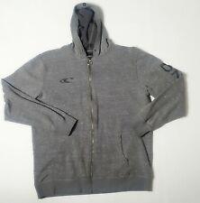 Oneill Zip Up Hoodie fleece lined Mens Size XxL Ocean Gray Embroidered Sleeve