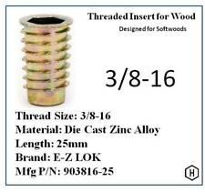 E Z Lok 38 16 X 25mm Flanged Thread Insert For Wood Die Cast Zinc 10 Pcs