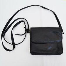 Leather Texier Small Handbag Black Leather Crossbody Bag, Long Strap Adjustable