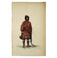 Old Antique Watercolour Portfolio Painting Sailor Anchor Sealskin Monmouth Cap