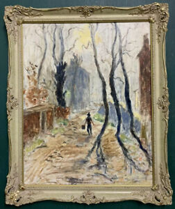 Large Mid Century Impressionist Oil On Board Painting In Gold Gilt Frame, Signed